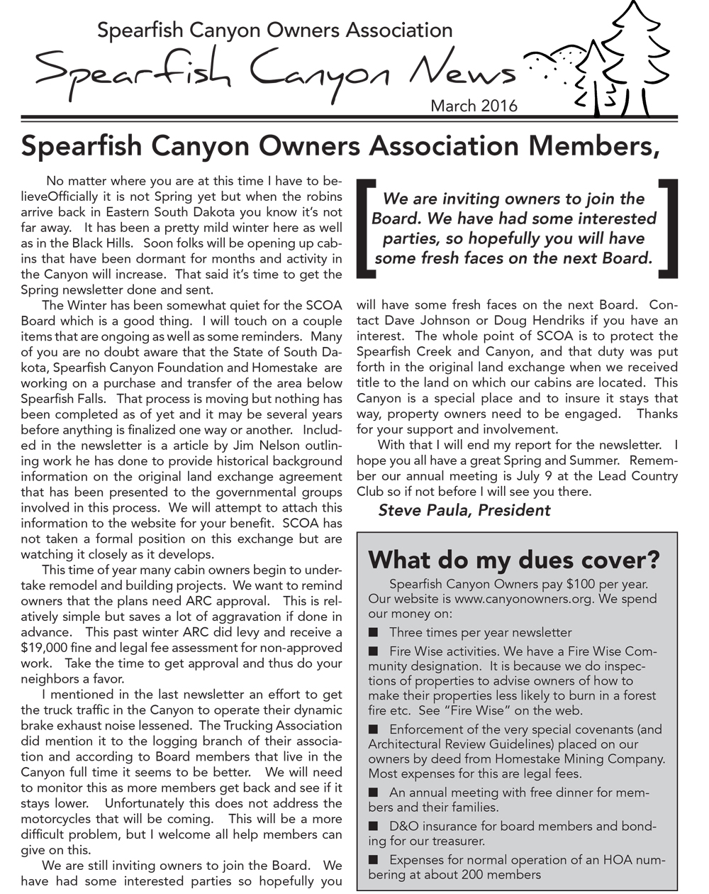 Spearfish Canyon Homeowners Associate Newsletter